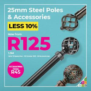 25mm Steel Poles & Accessories